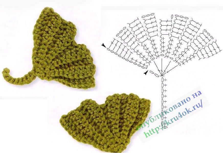 Hermosas hojas de ganchillo con patrones. Hojas de arce tejidas.