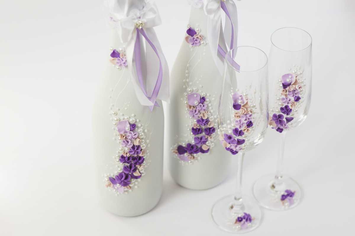 Украшение свадебной бутылки шампанского своими руками фото 372