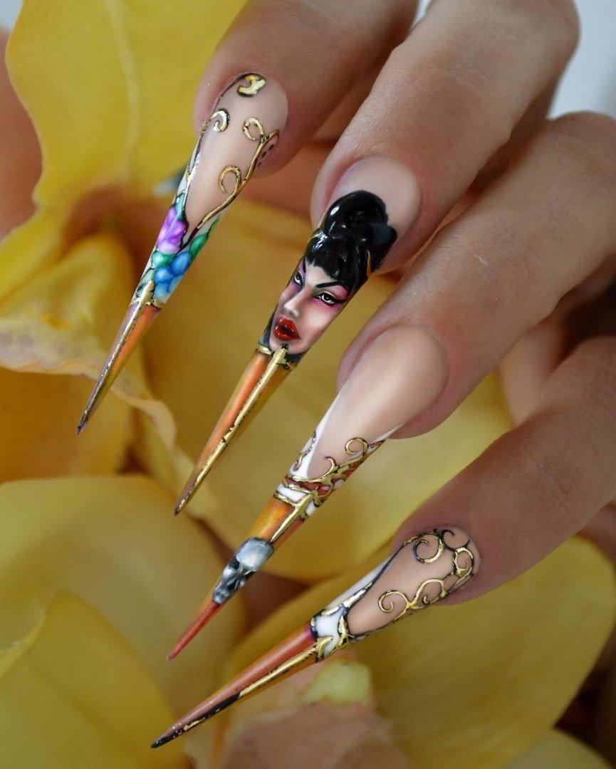 Готический дизайн ногтей: техника создания стилета и готика на натуральных ногтях изоражения