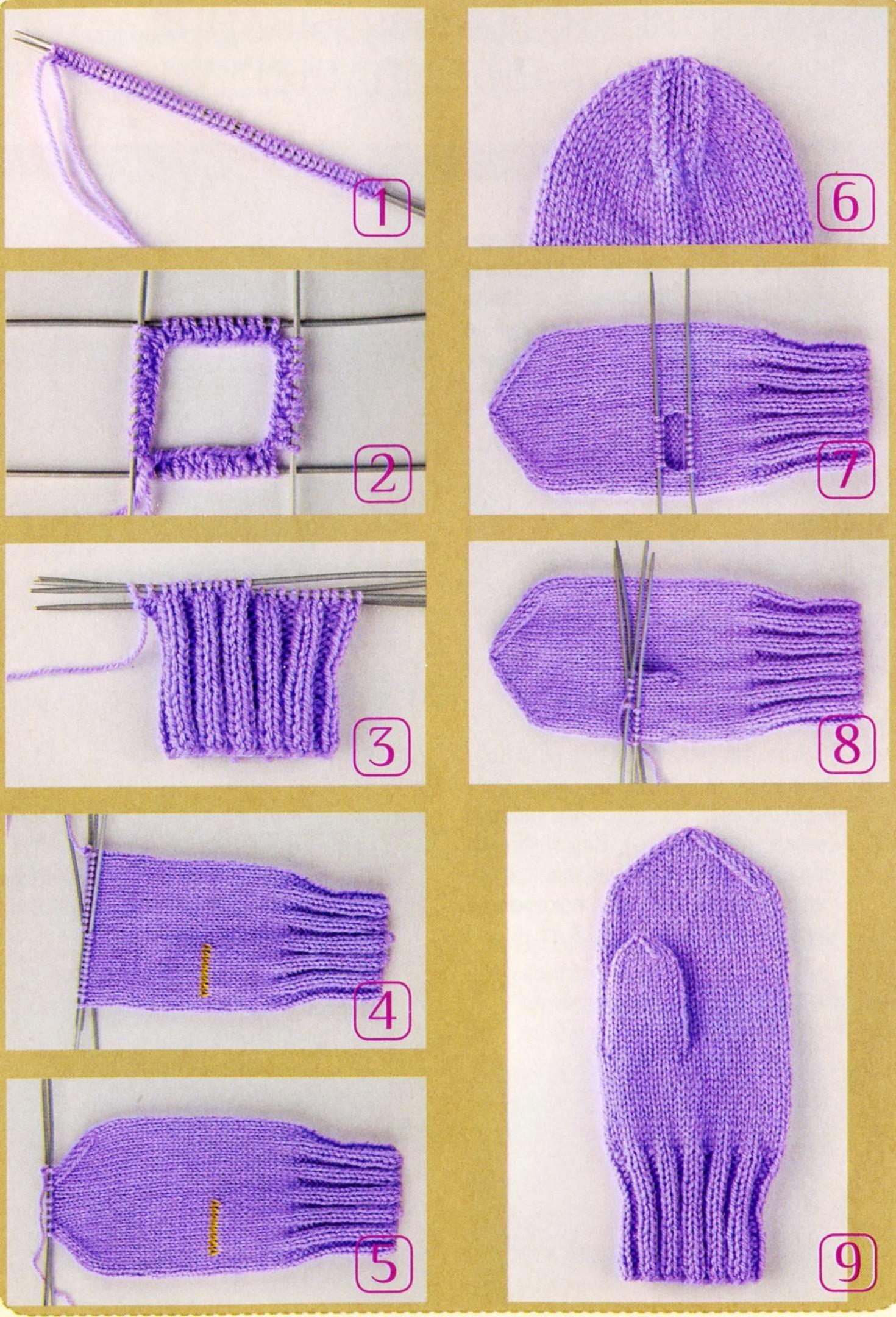 подробная схема вязания варежек спицами